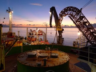 Nexans cable installation vessel during a cable laying operation
