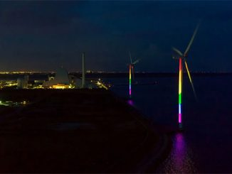 Two of the three wind turbines at Avedøre Power Station during the installation of the rainbow lights