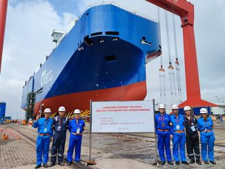 The second of UECC's newbuild LNG battery PCTCs on the water after being launched this week at Jiangnan Shipyard