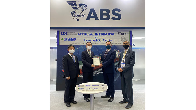 From left: Byeong-yong Yoo Vice President, KSOE; Young-Jun Nam, Executive Vice President, HMD; Chris Greenwood, ABS Manager, Business Development; Amarjit Kauchhur, Vice President, Middle East, RMI