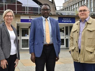 From left, Professor Ana Ivanovic, Director of Student Recruitment and Internalisation, University of Aberdeen; Dr Ollie Folayan, Chair, AFBE-UK Scotland; and Professor Igor Guz, Head of School of Engineering, University of Aberdeen