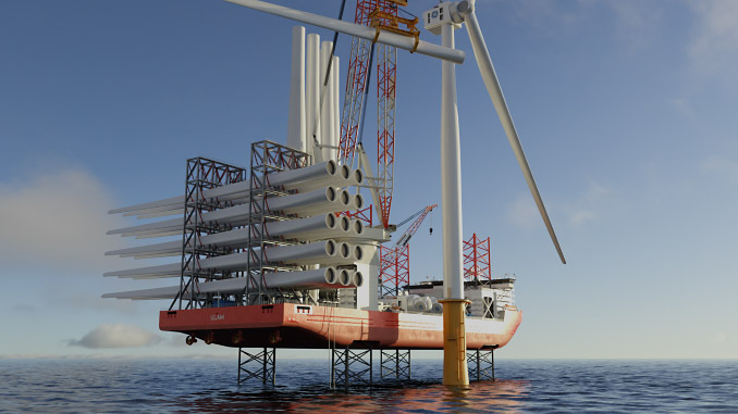 Jones Act Compliant design is hydrogen ready and capable of transporting monopoles vertically