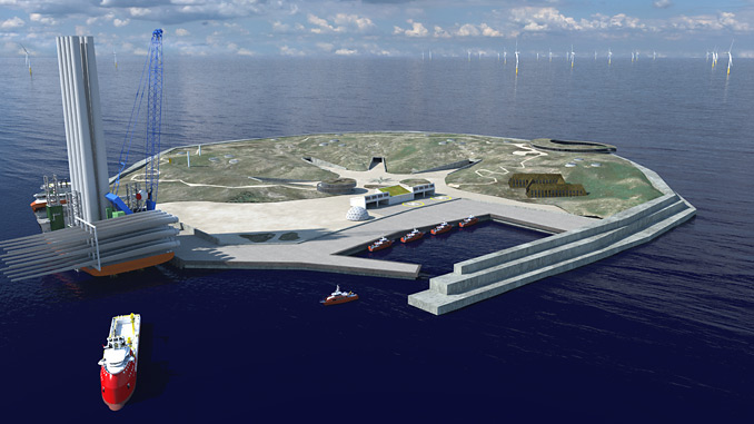 The world's first offshore energy hub on a man-made island in 25-30 metres deep waters