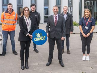 Jennifer Tempany, Fuel Change director, and Gareth Raymond, business director at INEOS FPS, with participants in the Grangemouth Net Zero Challenge
