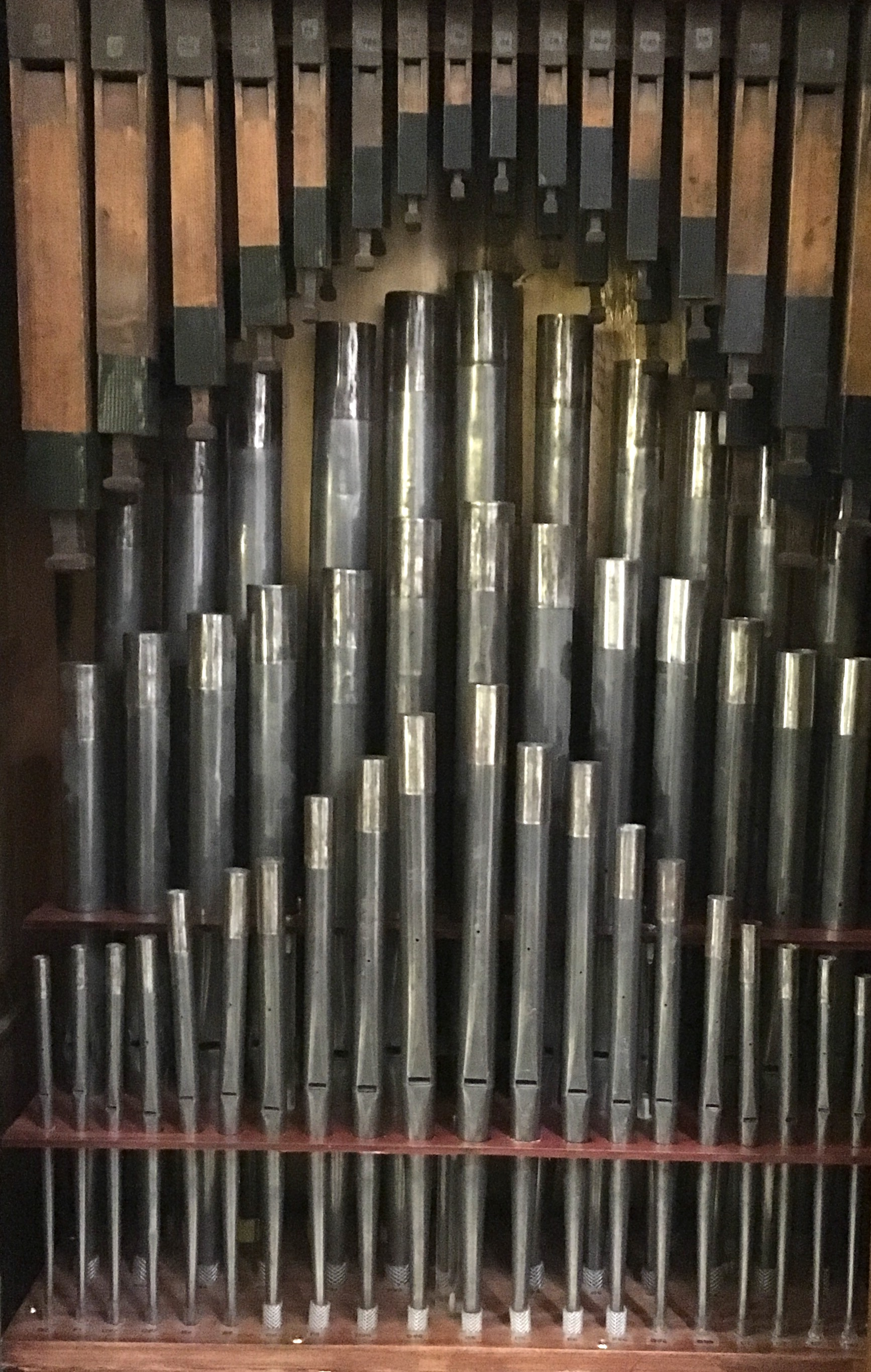 The two pipe ranks inside the PipeMare cabinet