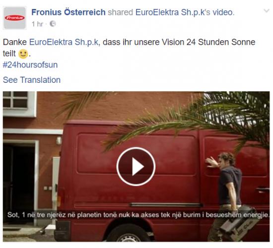 EuroElektra Sh.p.k. forcon bashkëpunimin strategjik me Fronius Österreich!