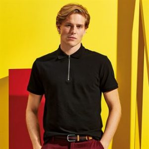 AQ013 Zip Polo black 01