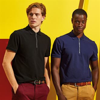 AQ013 Zip Polo black and navy