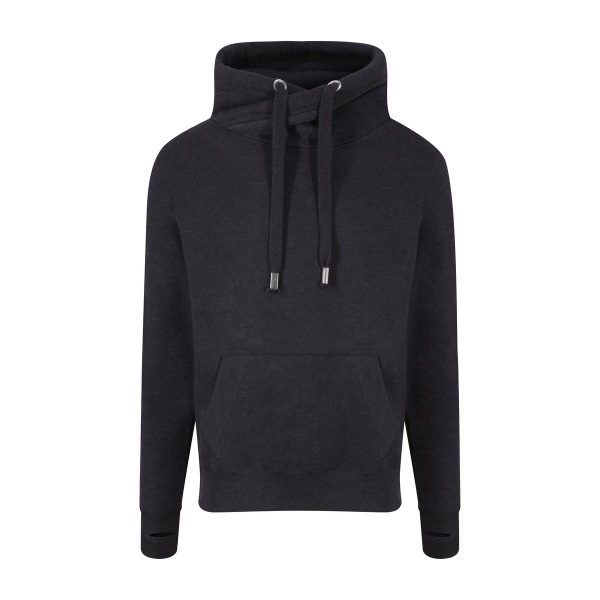 JH021 Crossover Neck Hoodie - Black Smoke