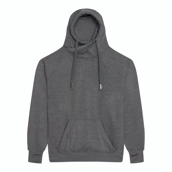 JH021 Crossover Neck Hoodie - Charcoal