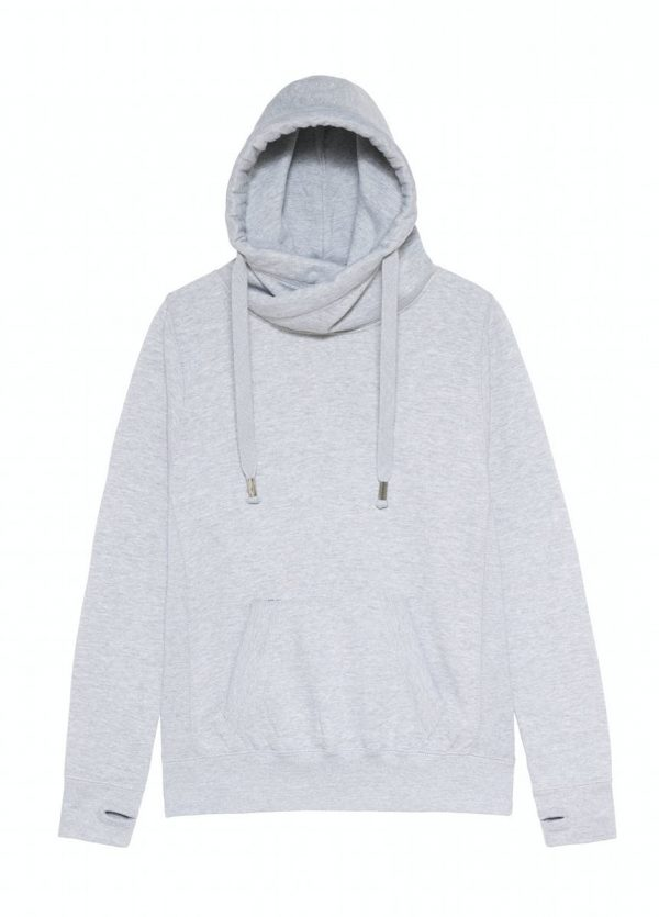 JH021 Crossover Neck Hoodie - Heather Grey