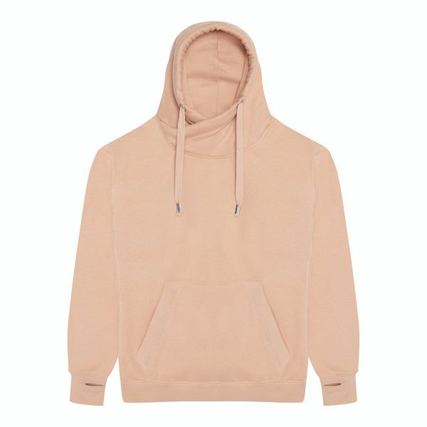 JH021 Crossover Neck Hoodie - Nude