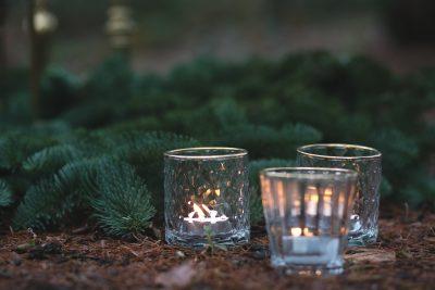 waxinlichtje huren glas met goud