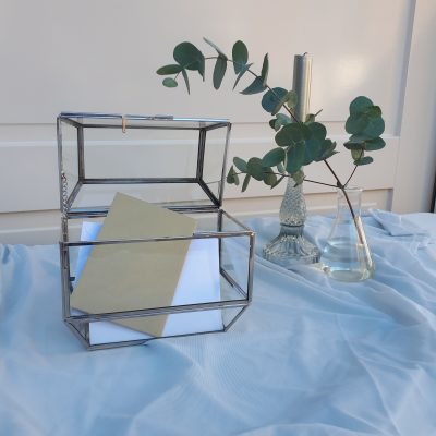 huren plexiglas enveloppendoos acryl bruiloft envelopbox glas kaartenbox envelop zilver grijs transparant