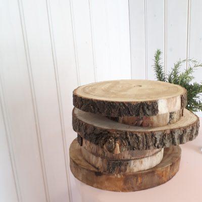 huren houten plateau dienblad boomstam schijven hout bruiloft