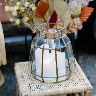 windlicht hexagon 6 hoek glas decoratie huren bruiloftgoud glas terrarium kaarstandaard hengesel