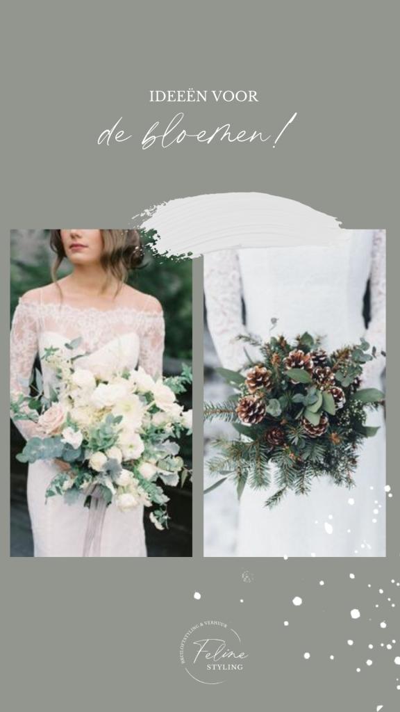 bruiloft winter bloemen trouwboeket dennenappels