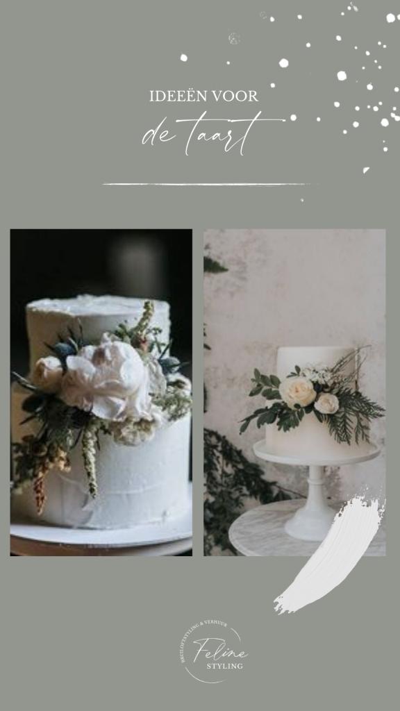 bruidstaart groen winter wit