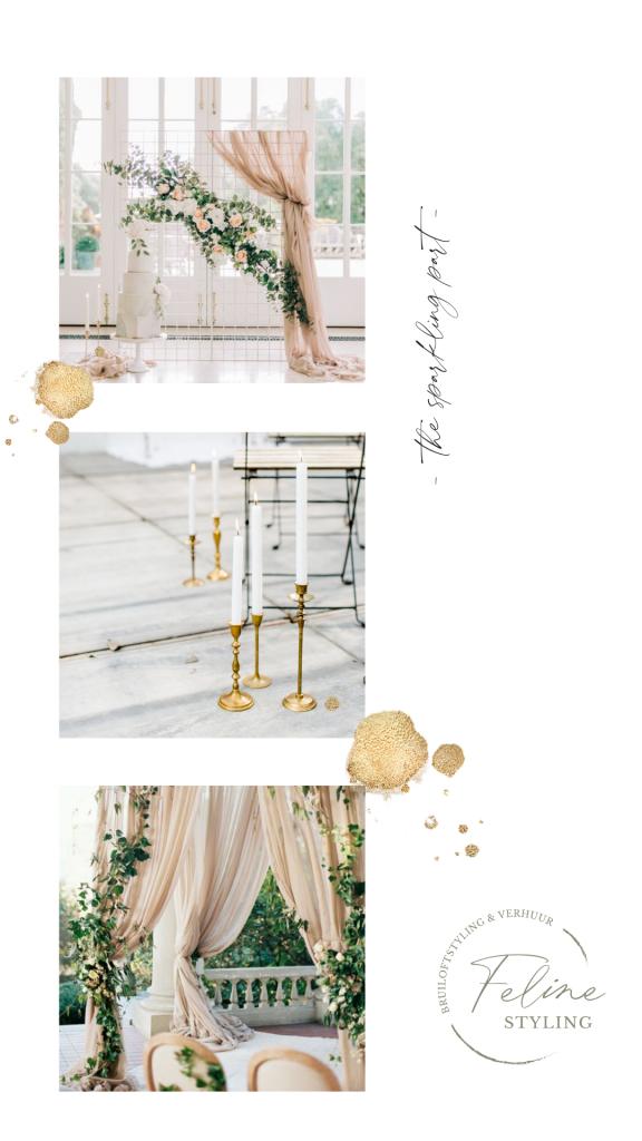 moodboard luxe bruiloft sparkling zachte materialen gold trouwen stylingsplan