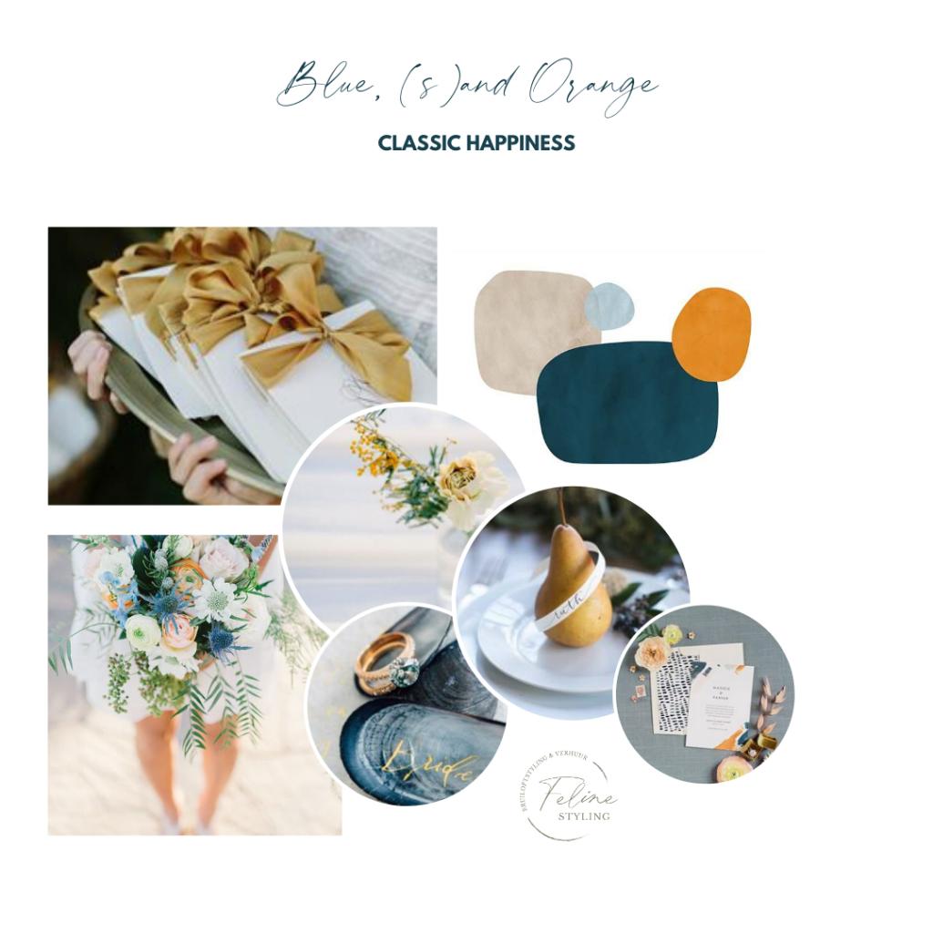 inspiratie kleurenthema bruiloft donkerblauw orangje zandkleur klassieke bruiloft buiten trouwen
