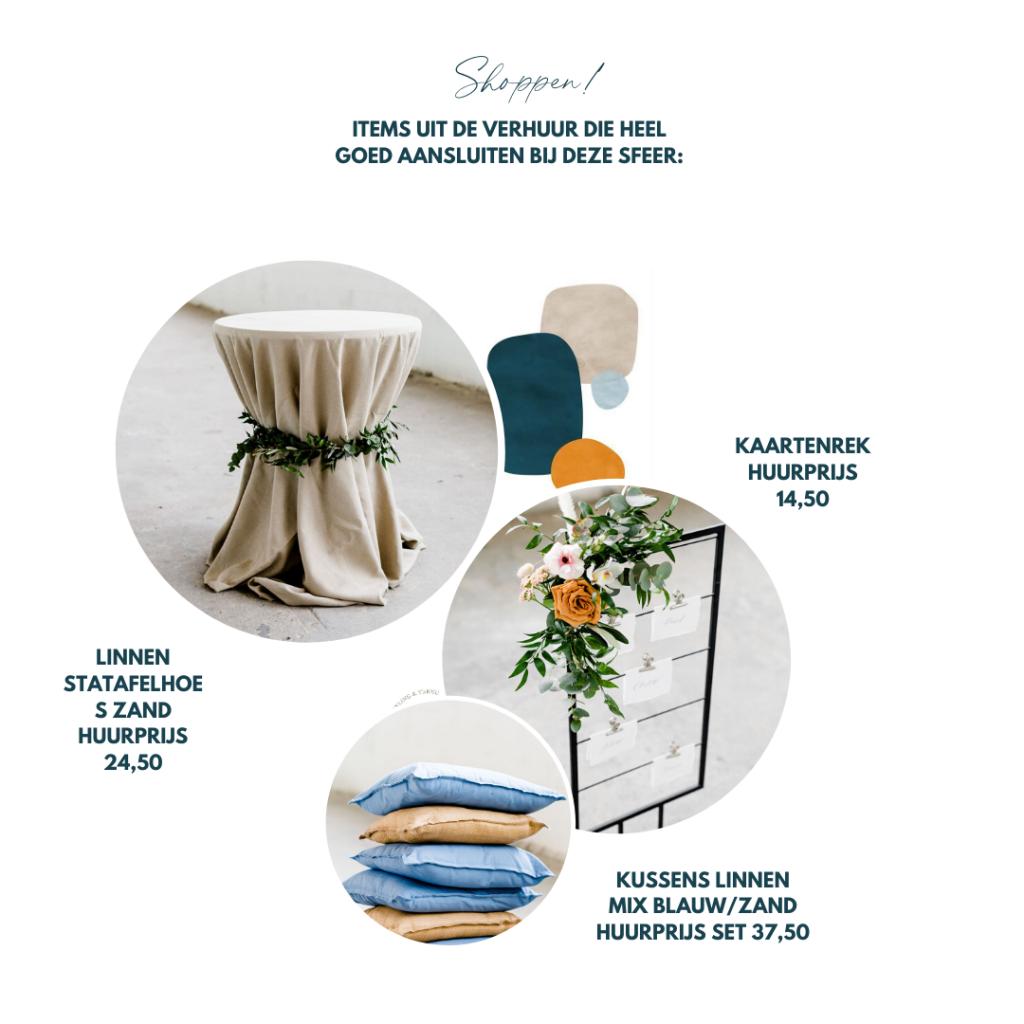 inspiratie kleurenthema bruiloft donkerblauw orangje zandkleur klassieke bruiloft buiten trouwen decoratie
