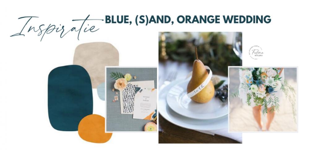 inspiratie bruiloft blauw oranje en zand kleur thema