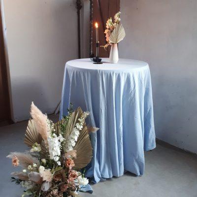 linnen look statafelrok Statafelcover blauw dusty blue tafelkleed statafelkleed luxe linnen