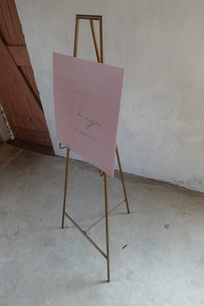 schildersezel metaal huren welkomsbord bruiloft ideeën goud roze decoratie