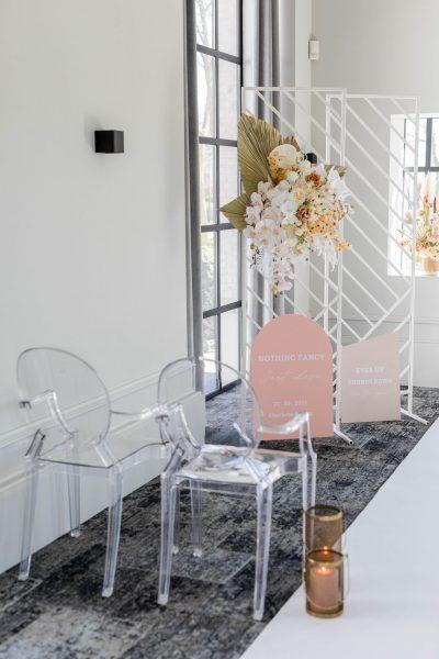backdrop wit drie luik asymetrisch verhuur bruiloft aankleding decoratie modern