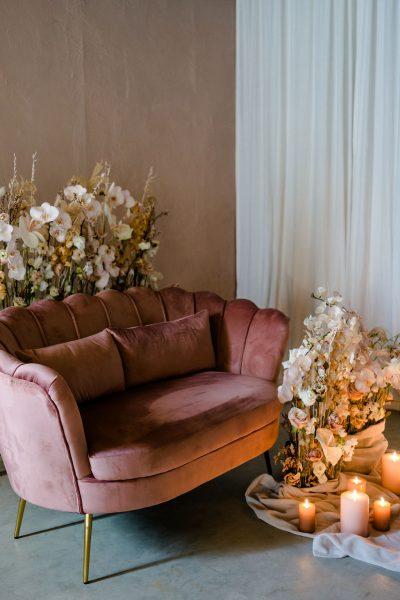 bank 2 zits trouwbankje roze fluweel modern gouden poot velvet