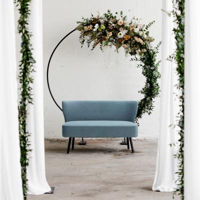 bankje fluweel blauw trouwbankje versiering bruiloft huren