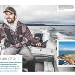 Saibling Angeln am Vättern See in Schweden