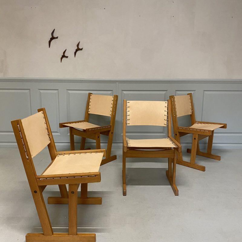 Fyra stolar i furu & kärnläder, Svein Bjørneng, Bruksbo