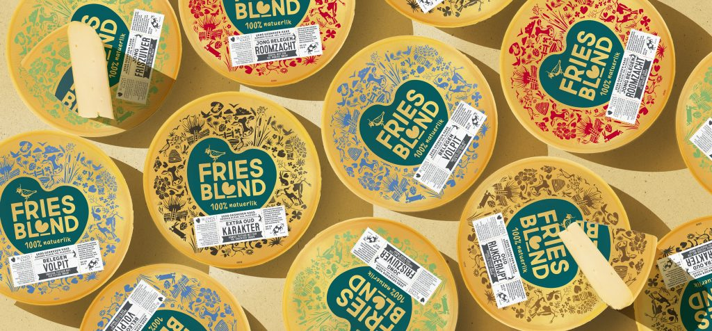 Packaging design for the different Friensblond cheeses