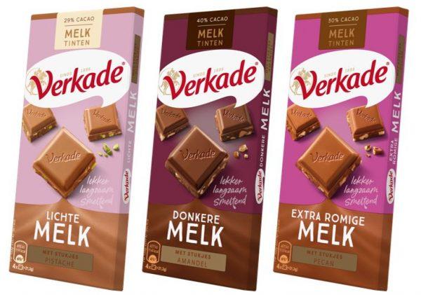 Verkade Melktinten range, Lichte Melk, Donkere Melk en Extra Romige Melk