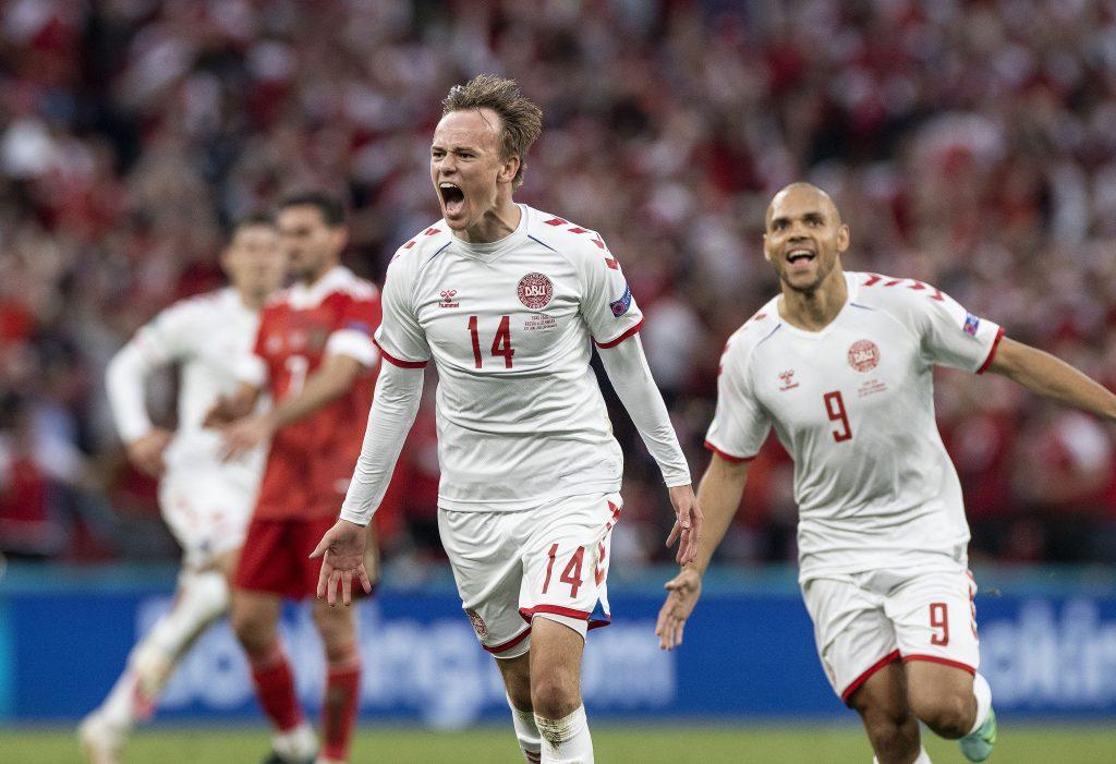 Denmark star Mikkel Damsgaard efter his goal for Denmark against Russia.