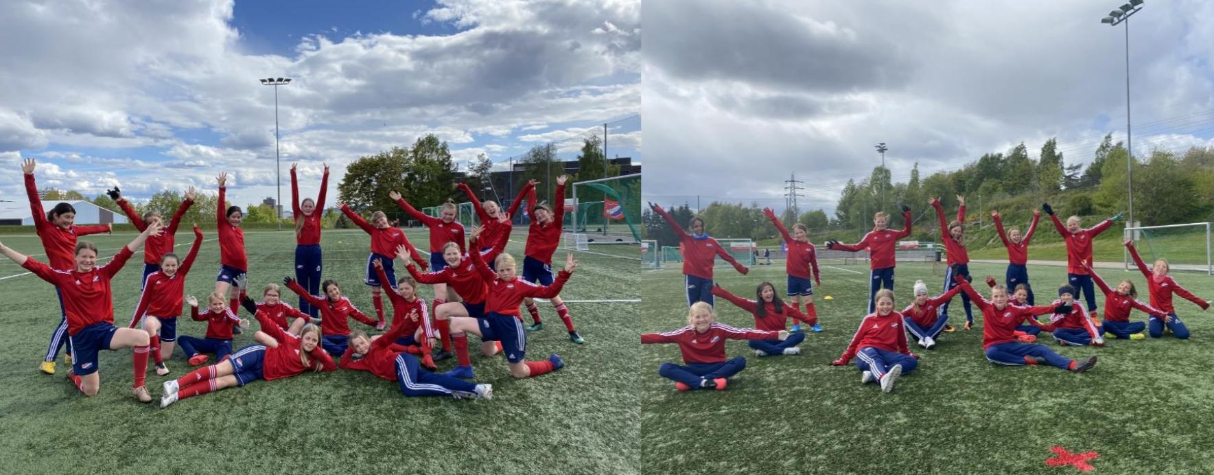 Bilde av ivrige jentespillere i Hasle-Løren fotball.