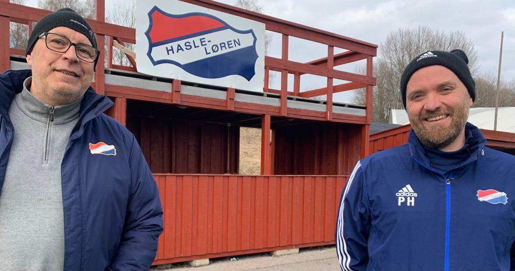 Bilde av Stian Langeli (til venstre) og Petter Hjelseth i sponsorgruppa i Hasle-Løren.