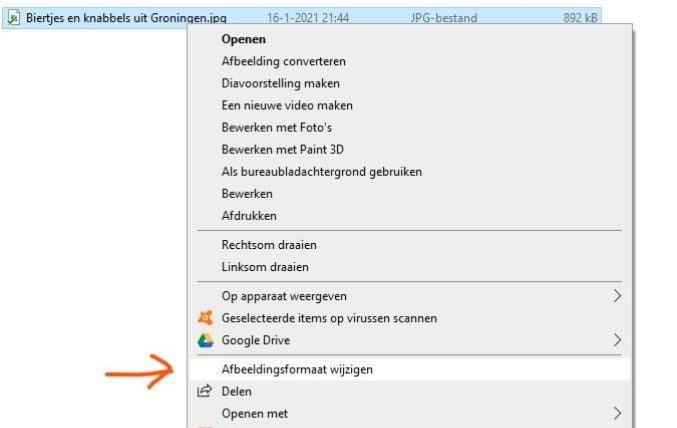 Het starten van Image resizer voor windows door met de rechter muisknop op een bestand te klikken.
