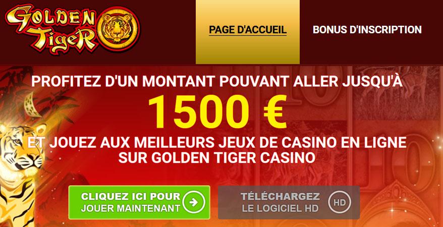 Golden Tiger casino en ligne et bonus