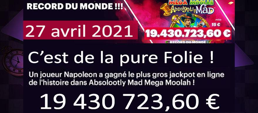 Record Mega Moolah mondial gagné en 2021