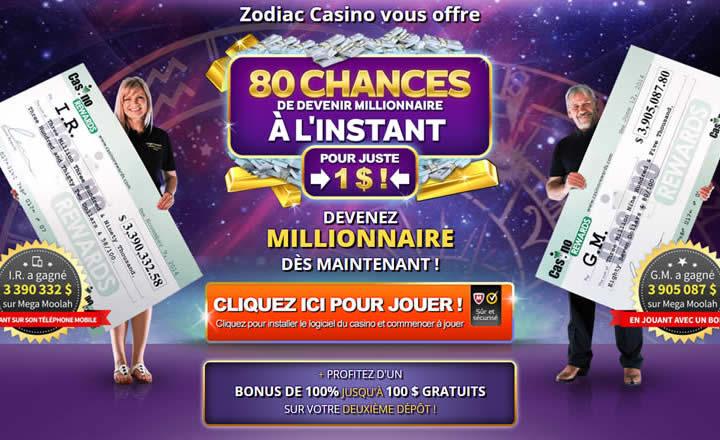 Jouer avec seulement 1 dollar de dépôt chez Zodiac Casino au Mega Moolah
