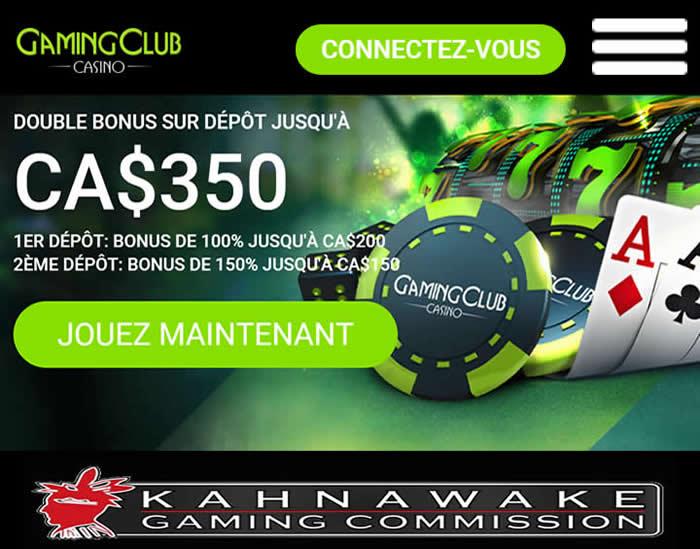 Gaming Club - Au Kahnawake depuis 1994 - Un casino en ligne 100% Canadien