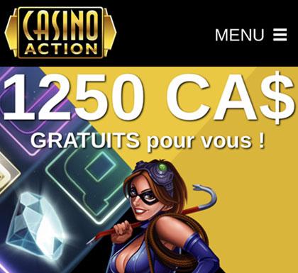 À Montréal, Casino Action est le site de casino recommandé pour ses machines à sous, la roulette et le blackjack