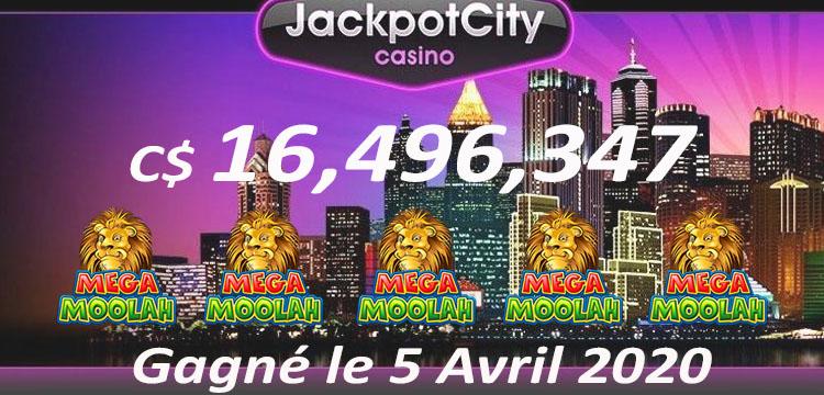 Mega Jackpot Gagné le 5 Avril 2020