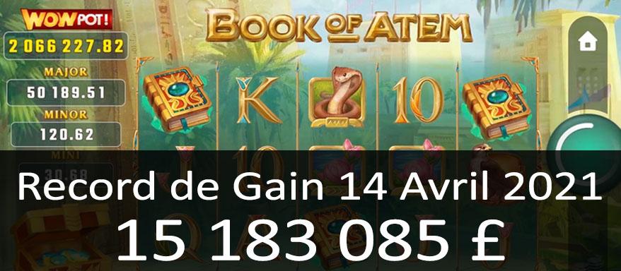 Gain de 15 millions sur WowPot Book of Atem