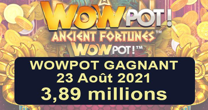 WowPot Gagnant en 2021 chez VideoSlots.com