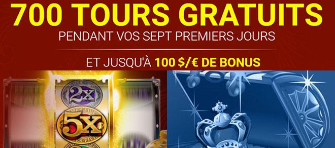 700 tours gratuits au casino en ligne