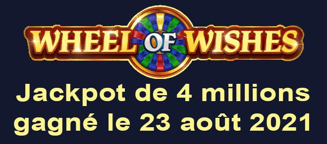 Grand gagnant du WowPot sur le jeu Wheel of Wishes