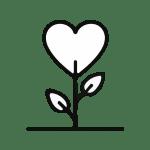 Illustration som visar ett hjärta som växer som en blomma ur jorden och som visar hur du kan växa med stöd av Susannes coachning och mentala träning.